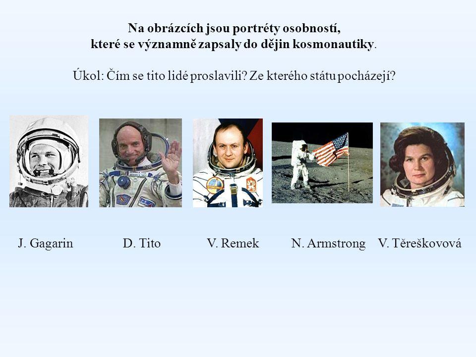 Na obrázcích jsou portréty osobností, které se významně zapsaly do dějin kosmonautiky.