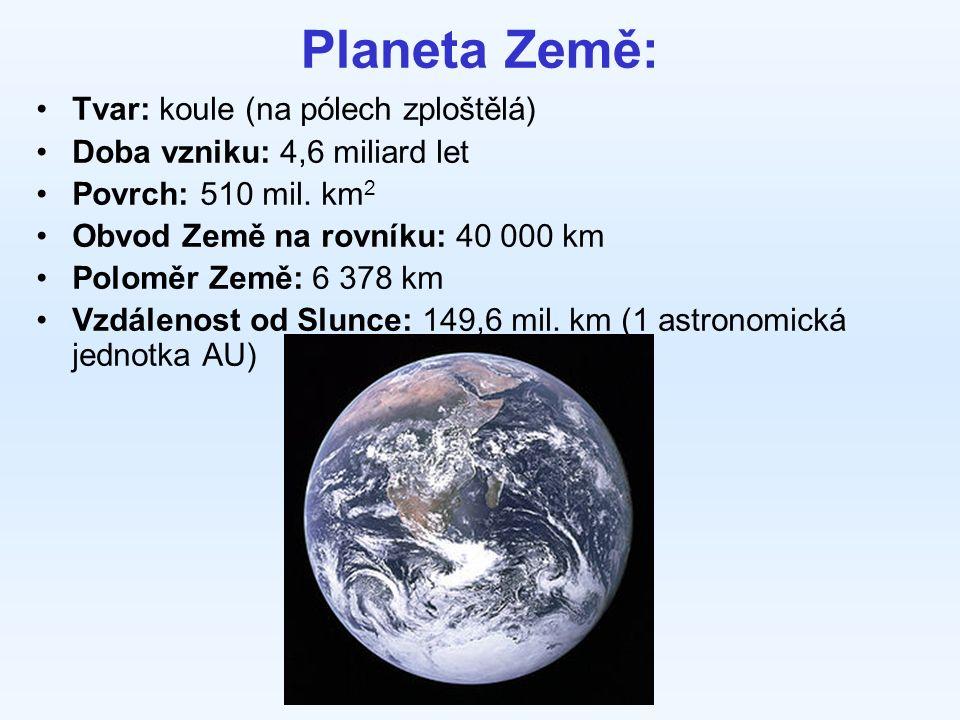 Planeta Země: Tvar: koule (na pólech zploštělá) Doba vzniku: 4,6 miliard let Povrch: 510 mil.