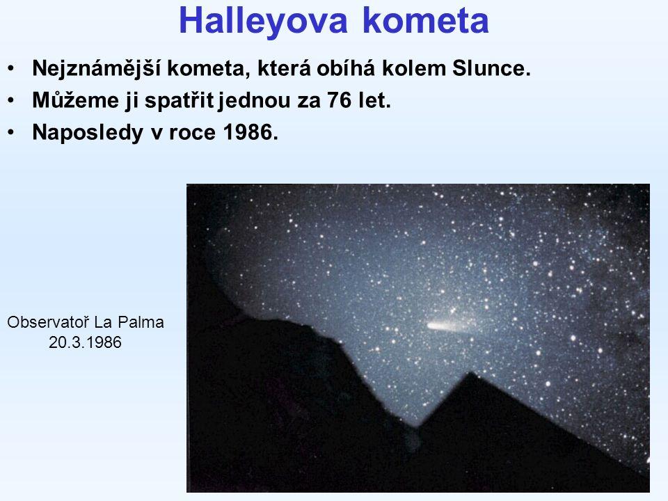 Halleyova kometa Nejznámější kometa, která obíhá kolem Slunce.