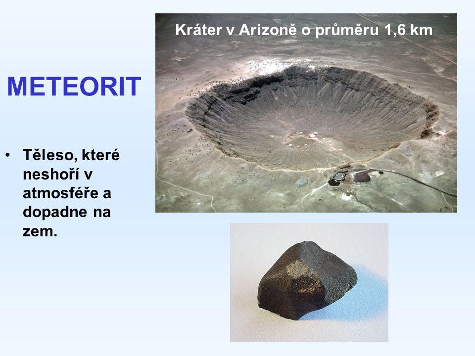 METEORIT Těleso, které neshoří v atmosféře a dopadne na zem. Kráter v Arizoně o průměru 1,6 km