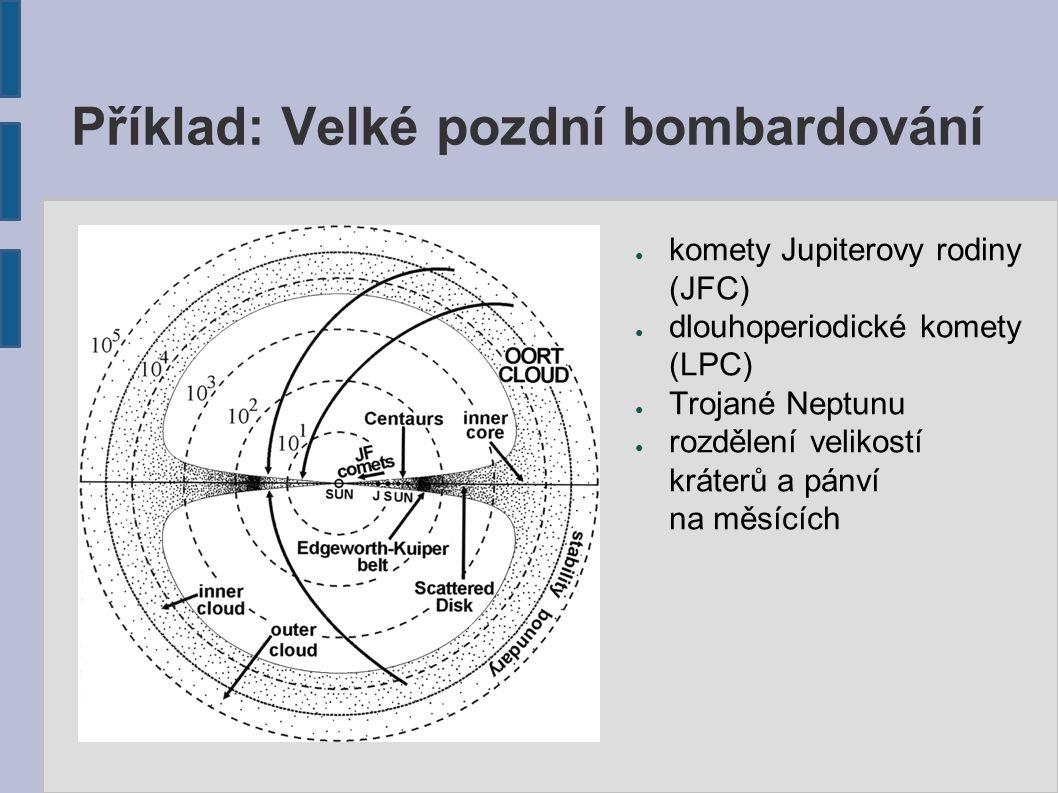 Příklad: Velké pozdní bombardování ● komety Jupiterovy rodiny (JFC) ● dlouhoperiodické komety (LPC) ● Trojané Neptunu ● rozdělení velikostí kráterů a pánví na měsících