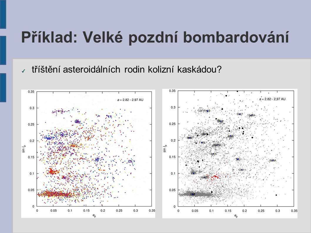 Příklad: Velké pozdní bombardování ✔ tříštění asteroidálních rodin kolizní kaskádou