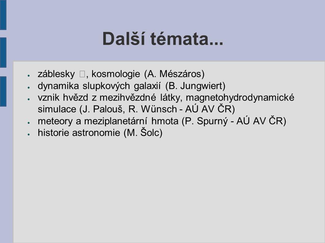 Další témata... ● záblesky , kosmologie (A. Mészáros) ● dynamika slupkových galaxií (B.