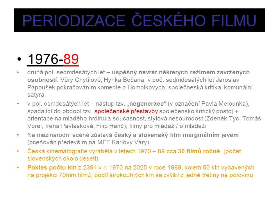 PERIODIZACE ČESKÉHO FILMU 1976-89 druhá pol.