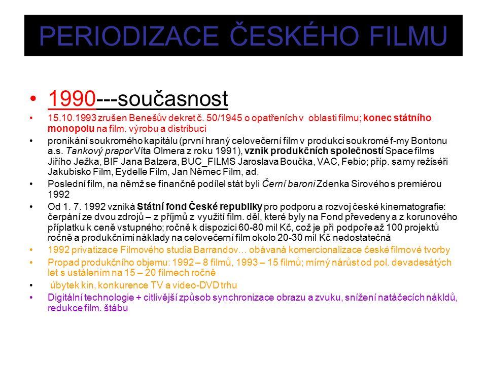 PERIODIZACE ČESKÉHO FILMU 1990---současnost 15.10.1993 zrušen Benešův dekret č.