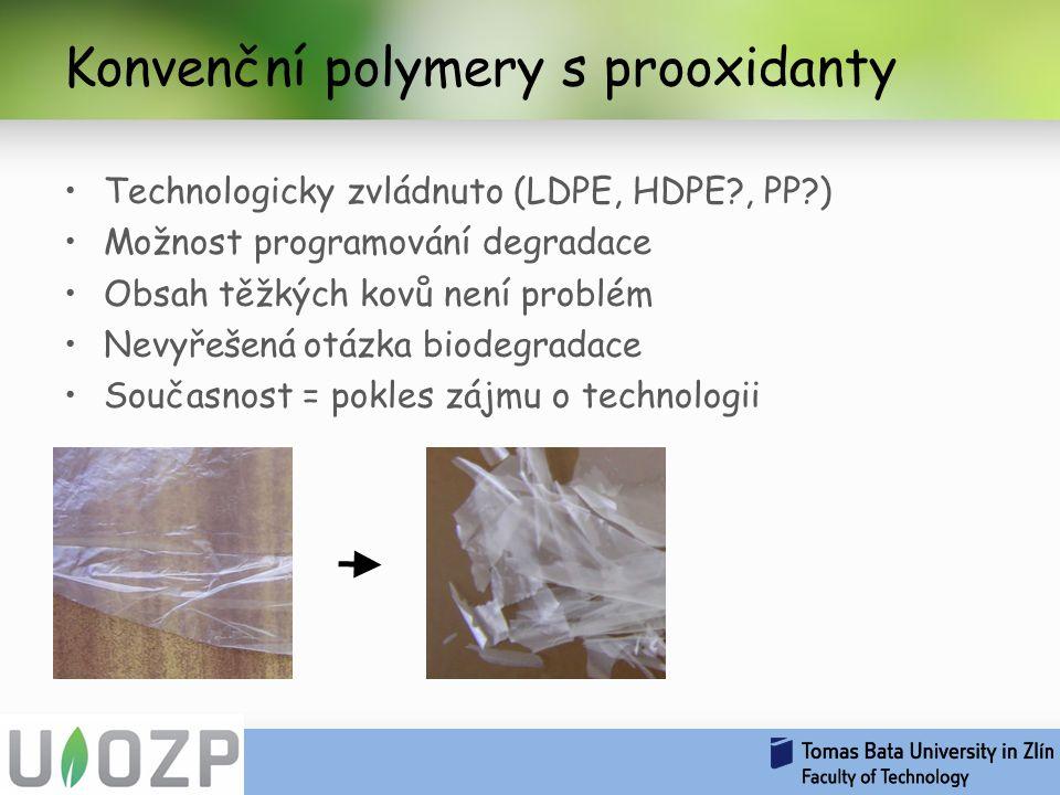Konvenční polymery s prooxidanty Technologicky zvládnuto (LDPE, HDPE?, PP?) Možnost programování degradace Obsah těžkých kovů není problém Nevyřešená