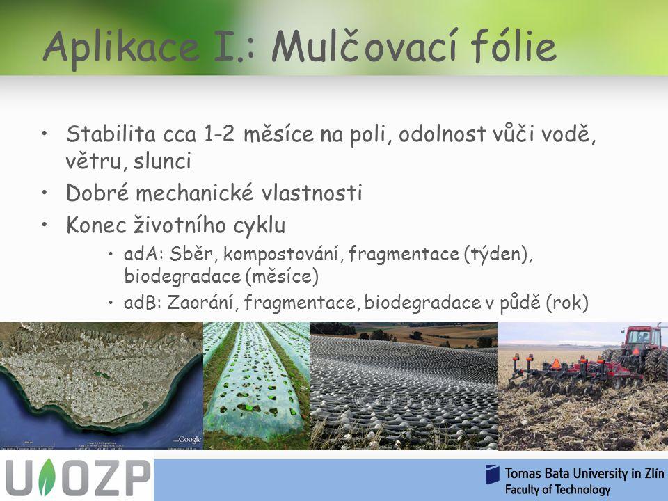 Stabilita cca 1-2 měsíce na poli, odolnost vůči vodě, větru, slunci Dobré mechanické vlastnosti Konec životního cyklu adA: Sběr, kompostování, fragmentace (týden), biodegradace (měsíce) adB: Zaorání, fragmentace, biodegradace v půdě (rok) Aplikace I.: Mulčovací fólie