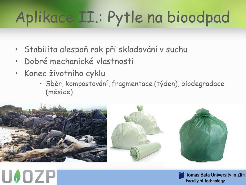 Stabilita alespoň rok při skladování v suchu Dobré mechanické vlastnosti Konec životního cyklu Sběr, kompostování, fragmentace (týden), biodegradace (měsíce) Aplikace II.: Pytle na bioodpad