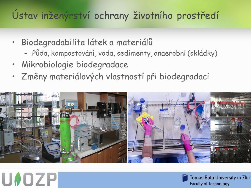 Biodegradabilita látek a materiálů –Půda, kompostování, voda, sedimenty, anaerobní (skládky) Mikrobiologie biodegradace Změny materiálových vlastností