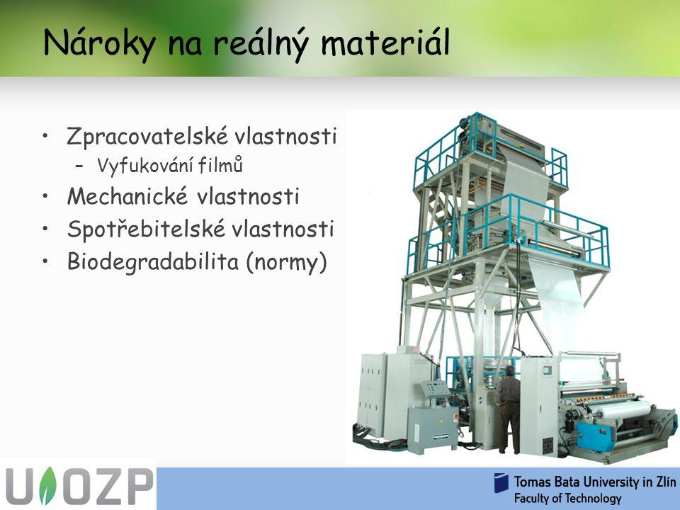 Nároky na reálný materiál Zpracovatelské vlastnosti –Vyfukování filmů Mechanické vlastnosti Spotřebitelské vlastnosti Biodegradabilita (normy)