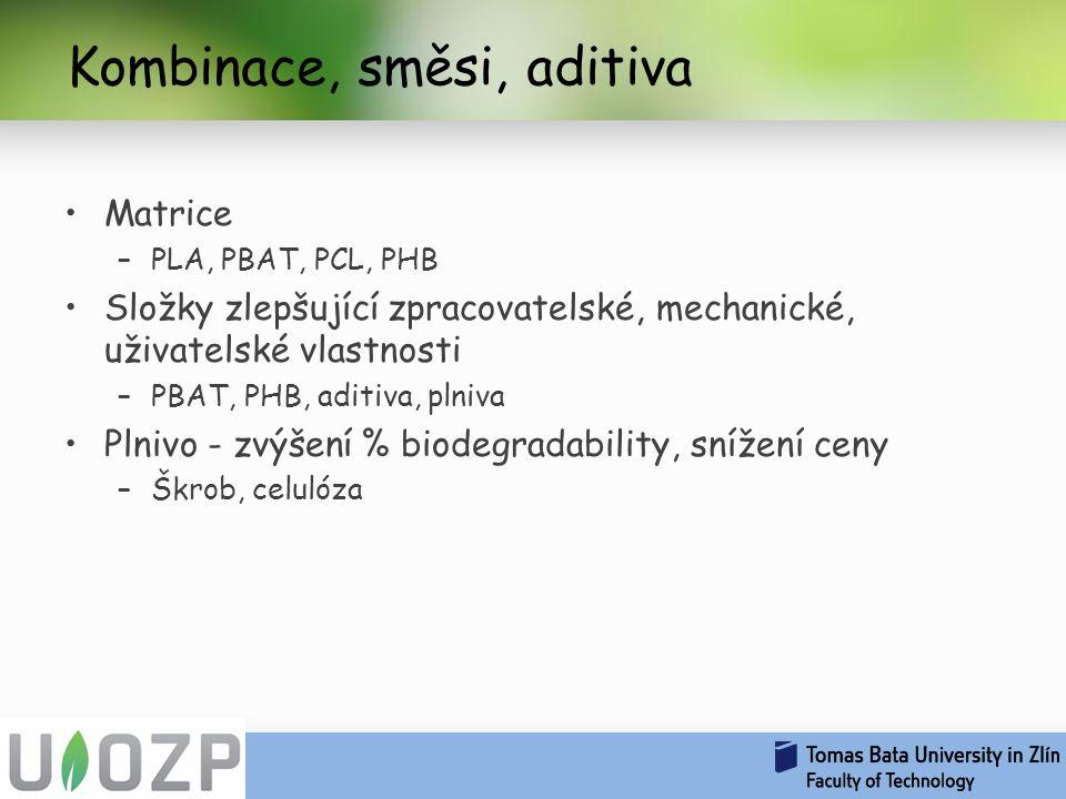 Kombinace, směsi, aditiva Matrice –PLA, PBAT, PCL, PHB Složky zlepšující zpracovatelské, mechanické, uživatelské vlastnosti –PBAT, PHB, aditiva, plniva Plnivo - zvýšení % biodegradability, snížení ceny –Škrob, celulóza