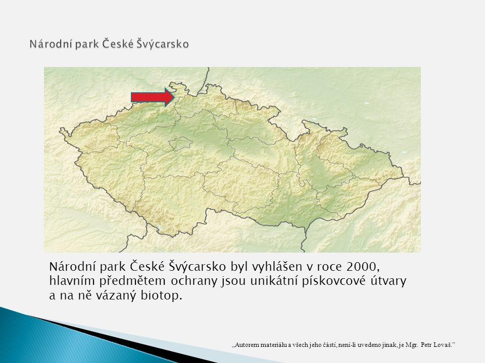 Národní park České Švýcarsko byl vyhlášen v roce 2000, hlavním předmětem ochrany jsou unikátní pískovcové útvary a na ně vázaný biotop.