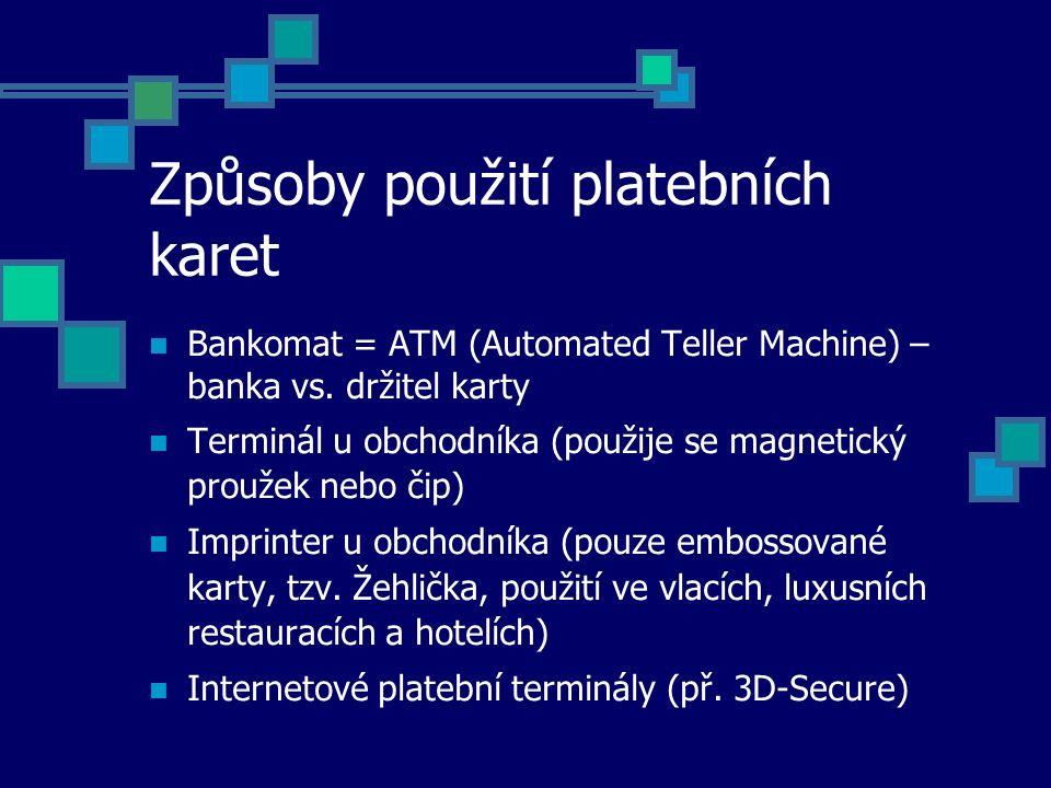 Způsoby použití platebních karet Bankomat = ATM (Automated Teller Machine) – banka vs. držitel karty Terminál u obchodníka (použije se magnetický prou