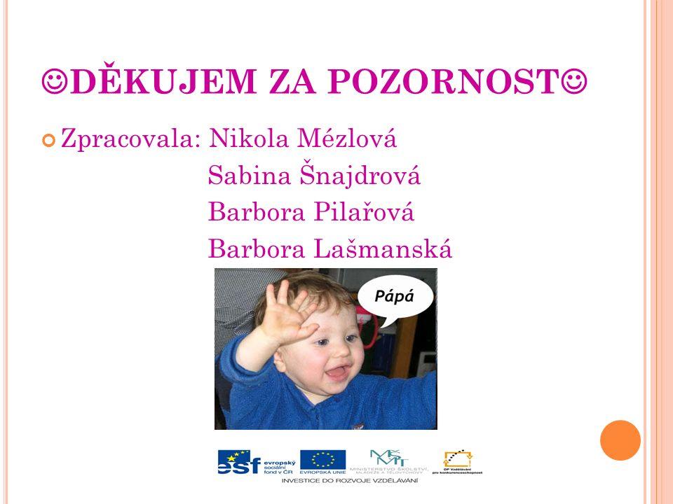 DĚKUJEM ZA POZORNOST Zpracovala: Nikola Mézlová Sabina Šnajdrová Barbora Pilařová Barbora Lašmanská
