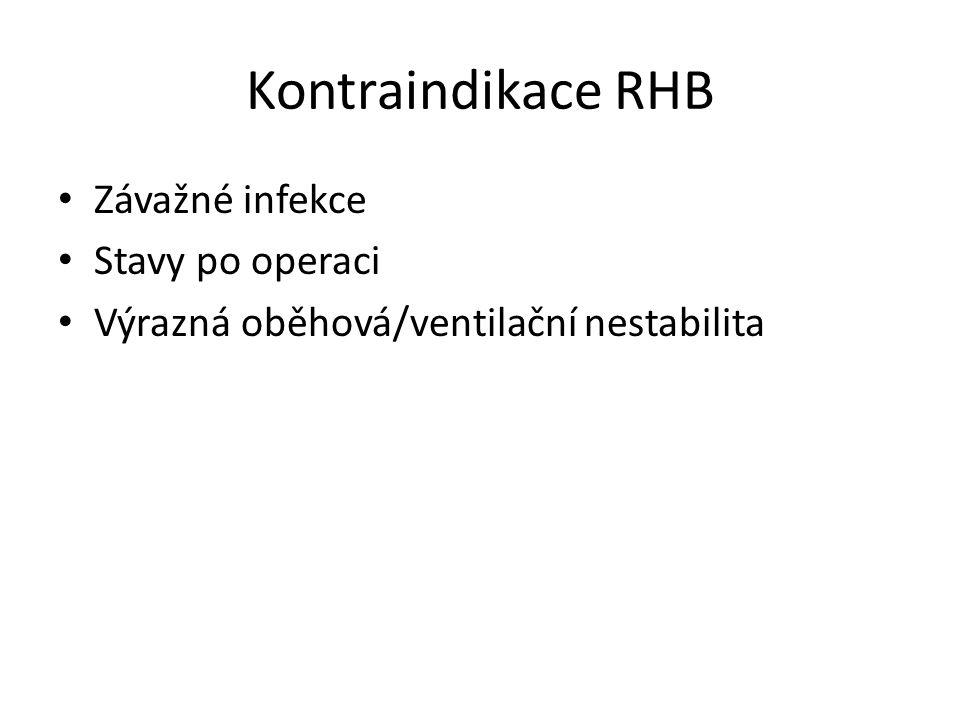 Kontraindikace RHB Závažné infekce Stavy po operaci Výrazná oběhová/ventilační nestabilita