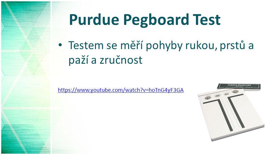 Purdue Pegboard Test Testem se měří pohyby rukou, prstů a paží a zručnost https://www.youtube.com/watch v=hoTnG4yF3GA