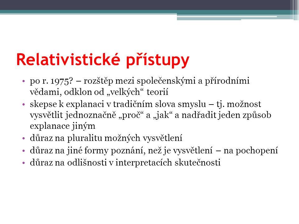 Relativistické přístupy po r. 1975.