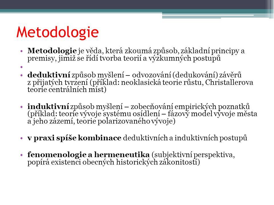 Metodologie Metodologie je věda, která zkoumá způsob, základní principy a premisy, jimiž se řídí tvorba teorií a výzkumných postupů deduktivní způsob