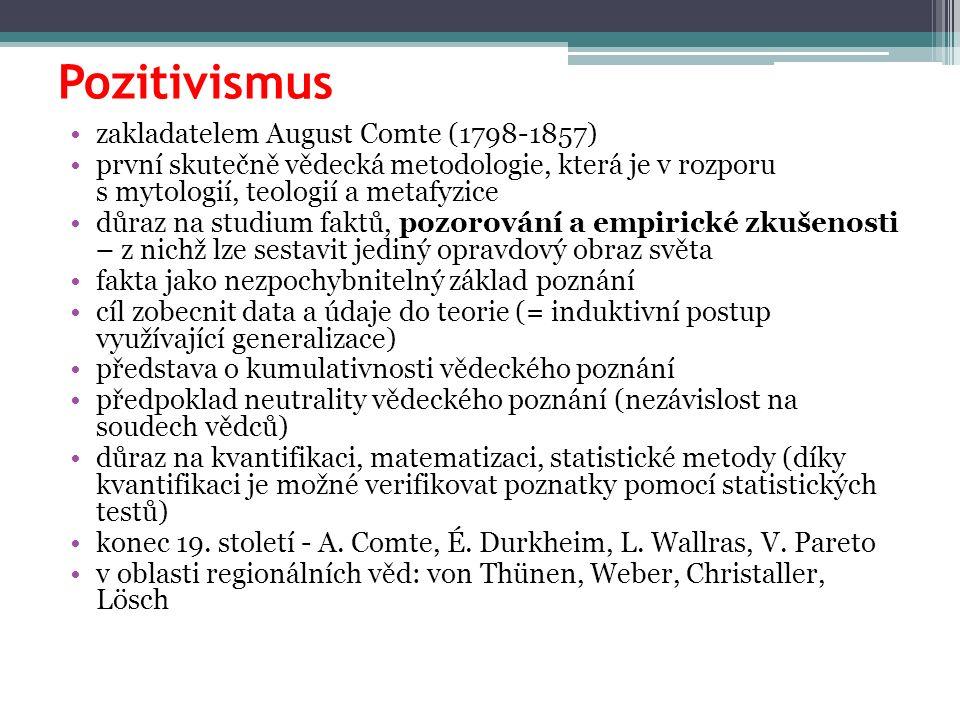 Pozitivismus zakladatelem August Comte (1798-1857) první skutečně vědecká metodologie, která je v rozporu s mytologií, teologií a metafyzice důraz na
