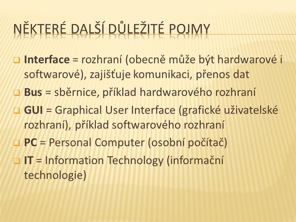  Interface = rozhraní (obecně může být hardwarové i softwarové), zajišťuje komunikaci, přenos dat  Bus = sběrnice, příklad hardwarového rozhraní  GUI = Graphical User Interface (grafické uživatelské rozhraní), příklad softwarového rozhraní  PC = Personal Computer (osobní počítač)  IT = Information Technology (informační technologie)