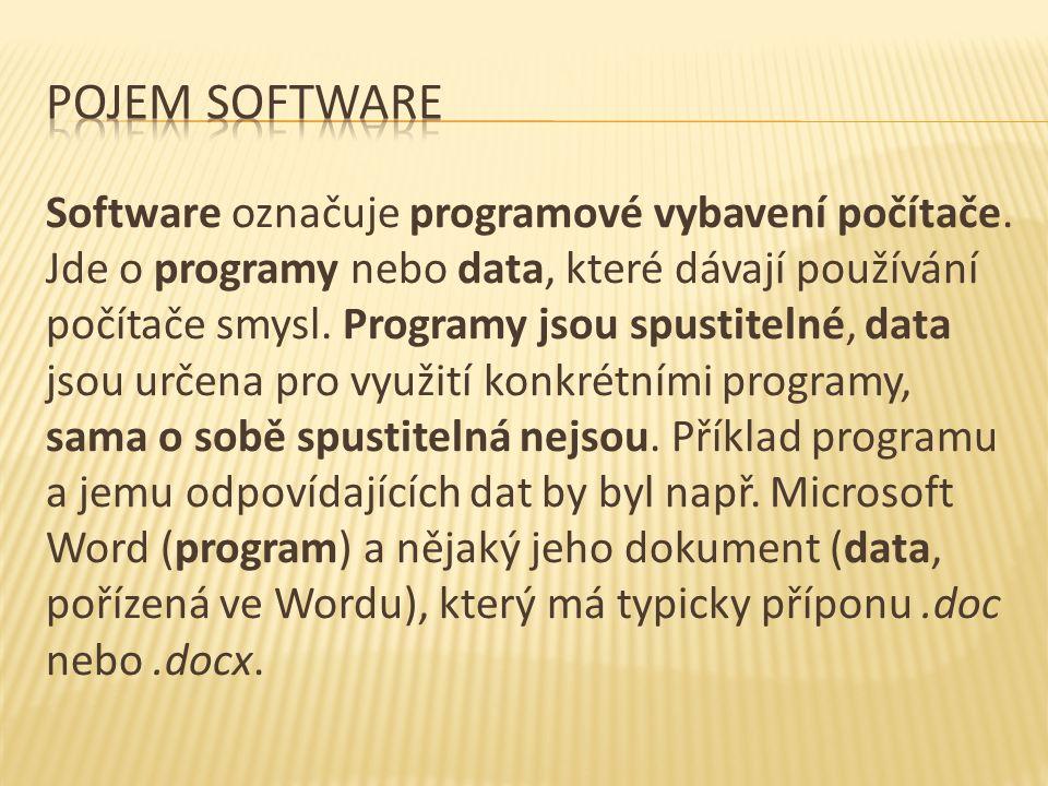 Software označuje programové vybavení počítače.