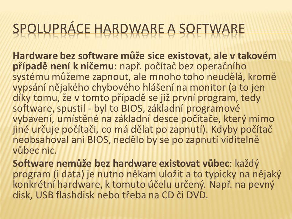 Hardware bez software může sice existovat, ale v takovém případě není k ničemu: např.