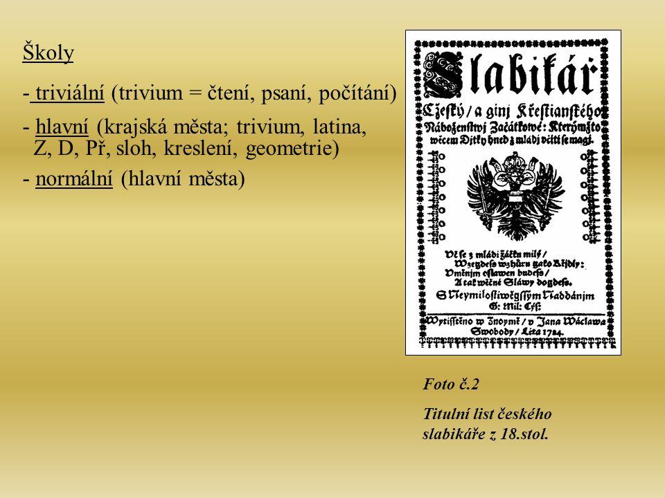 Foto č.2 Titulní list českého slabikáře z 18.stol.