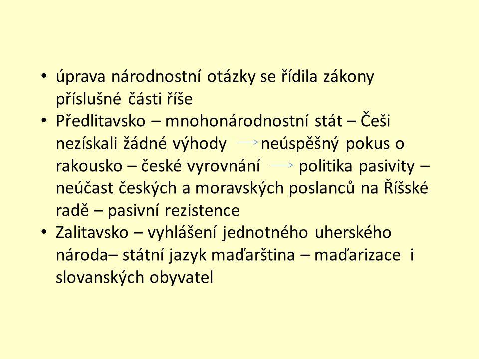 úprava národnostní otázky se řídila zákony příslušné části říše Předlitavsko – mnohonárodnostní stát – Češi nezískali žádné výhody neúspěšný pokus o r