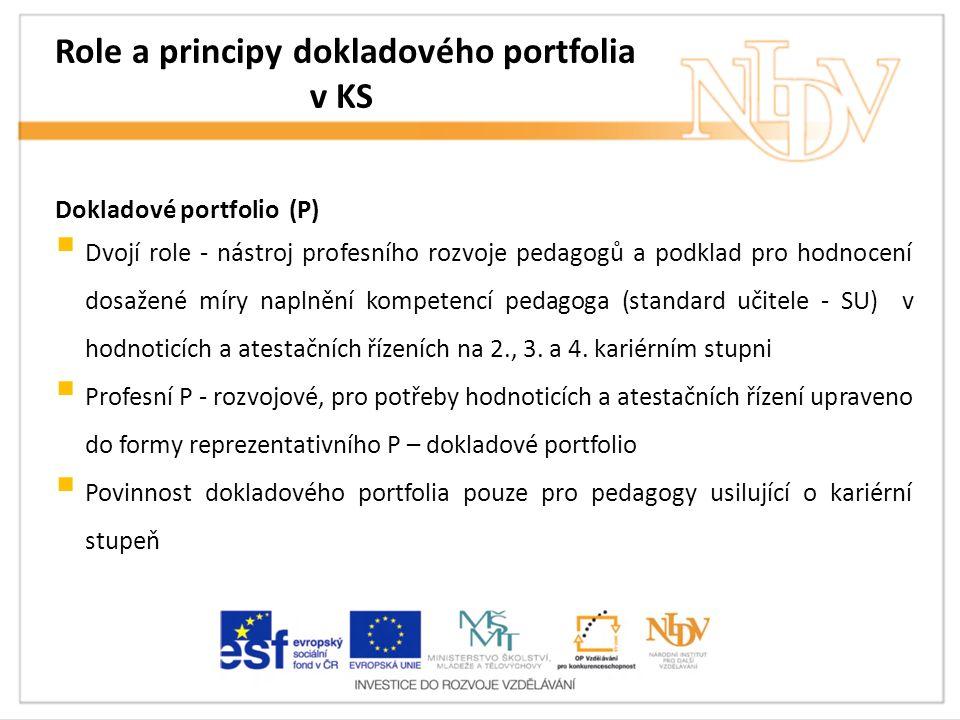 Role a principy dokladového portfolia v KS Dokladové portfolio (P)  Dvojí role - nástroj profesního rozvoje pedagogů a podklad pro hodnocení dosažené míry naplnění kompetencí pedagoga (standard učitele - SU) v hodnoticích a atestačních řízeních na 2., 3.