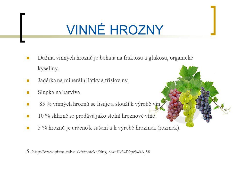 VINNÉ HROZNY Dužina vinných hroznů je bohatá na fruktosu a glukosu, organické kyseliny.