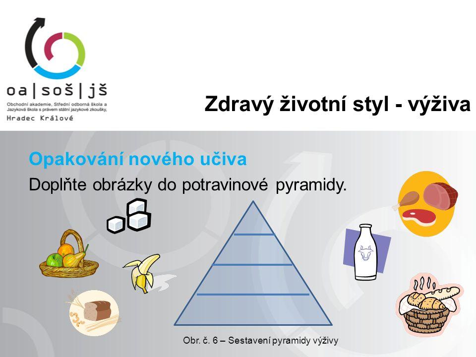 Zdravý životní styl - výživa Opakování nového učiva Doplňte obrázky do potravinové pyramidy.