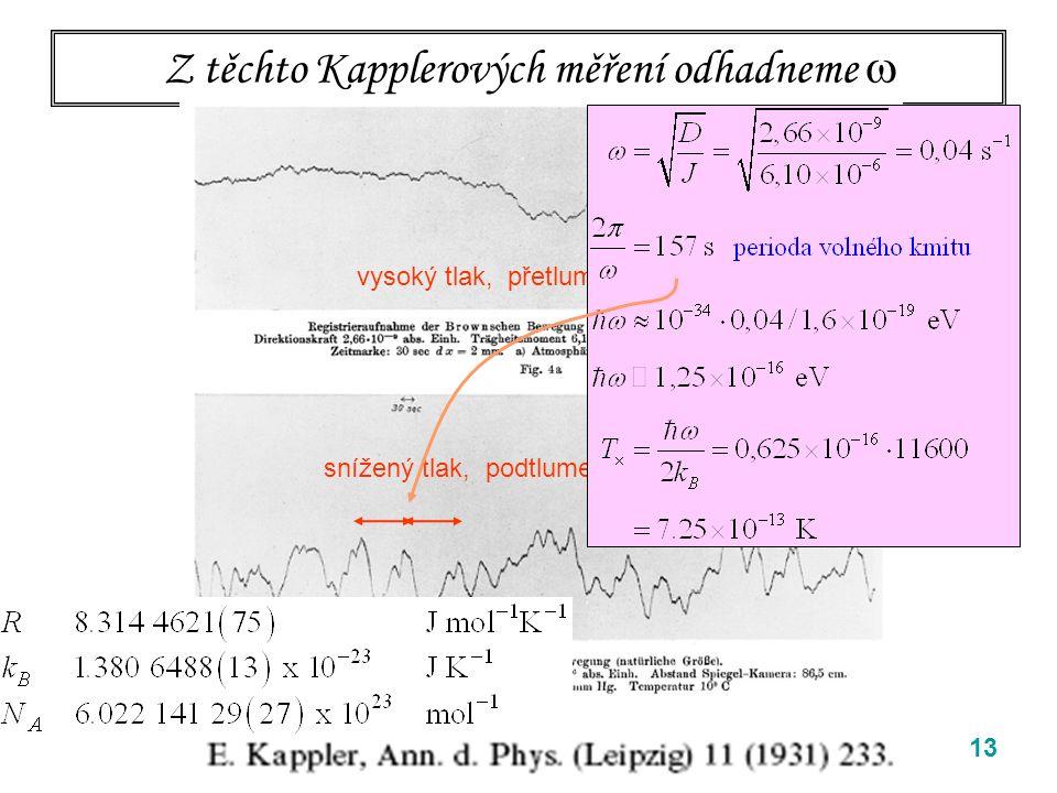 13 Z těchto Kapplerových měření odhadneme  vysoký tlak, přetlumený oscilátor snížený tlak, podtlumený oscilátor