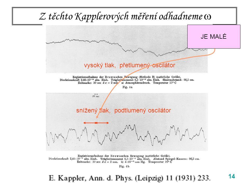 14 Z těchto Kapplerových měření odhadneme  vysoký tlak, přetlumený oscilátor snížený tlak, podtlumený oscilátor JE MALÉ