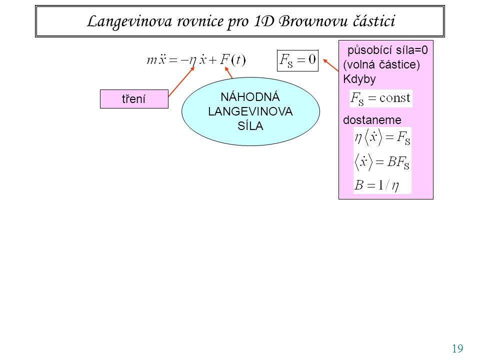 19 Langevinova rovnice pro 1D Brownovu částici tření působící síla=0 (volná částice) Kdyby dostaneme NÁHODNÁ LANGEVINOVA SÍLA
