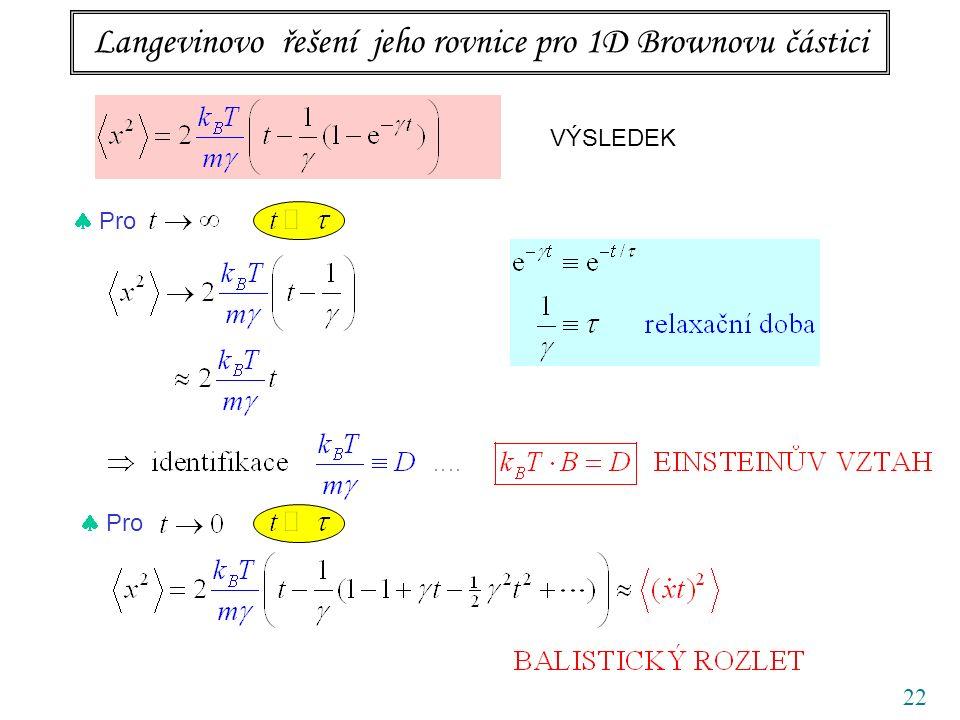 22 Langevinovo řešení jeho rovnice pro 1D Brownovu částici VÝSLEDEK  Pro