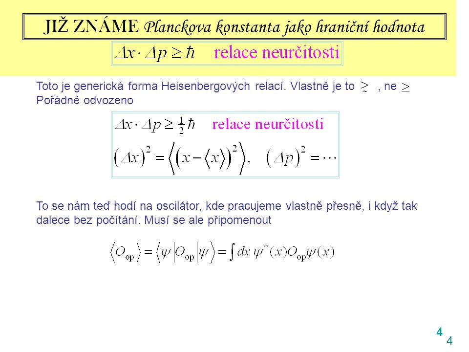 4 4 JI Ž ZNÁME Planckova konstanta jako hraniční hodnota Toto je generická forma Heisenbergových relací. Vlastně je to, ne Pořádně odvozeno To se nám