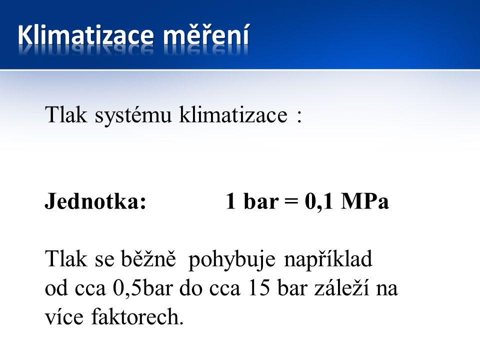 Tlak systému klimatizace : Jednotka: 1 bar = 0,1 MPa Tlak se běžně pohybuje například od cca 0,5bar do cca 15 bar záleží na více faktorech.