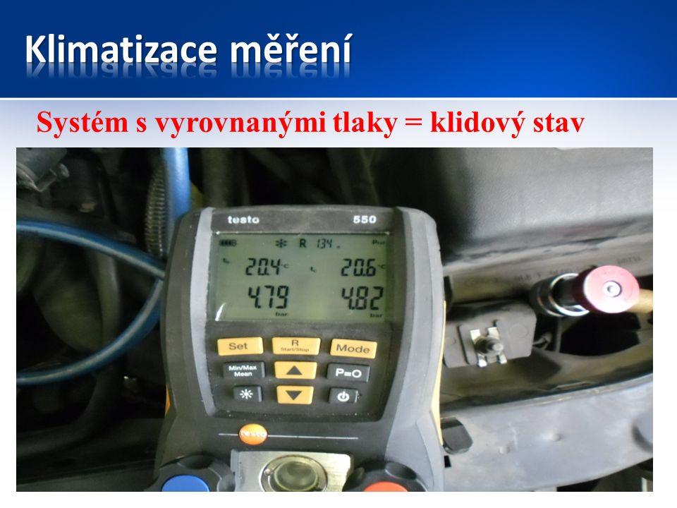 KompresorKondenzátor Expanzní ventil/ tryska Výparník Náporový vzduch Motorový prostor vnitřní prostor řidiče Směr jízdy Systém začíná vytvářet chlad Filtr vysoušeč Vzduch z ventilátoru topení