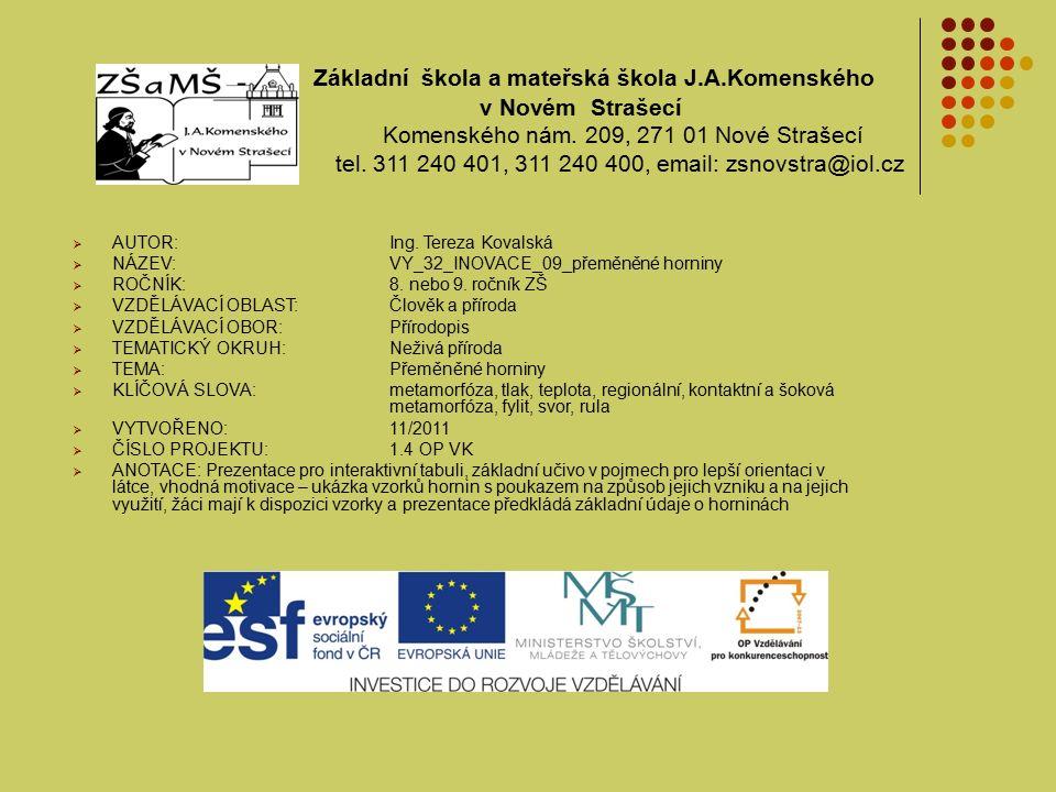 Základní škola a mateřská škola J.A.Komenského v Novém Strašecí Komenského nám.