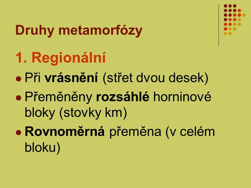 Druhy metamorfózy 1. Regionální Při vrásnění (střet dvou desek) Přeměněny rozsáhlé horninové bloky (stovky km) Rovnoměrná přeměna (v celém bloku)