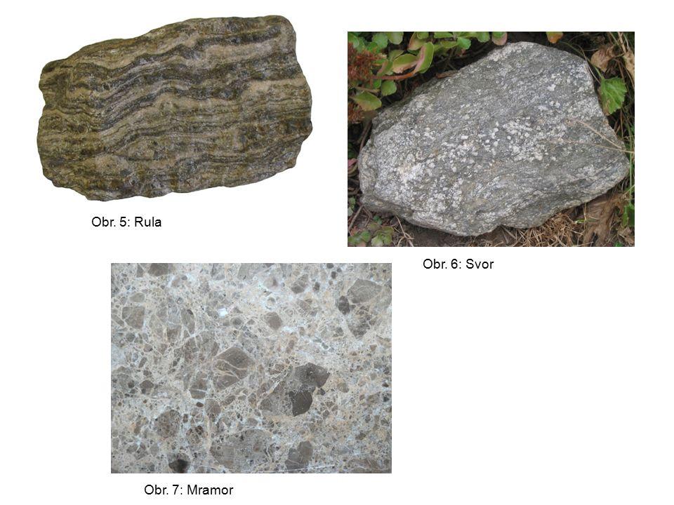 Výchozí hornina Směr růstu intenzity přeměny (teploty) jílová břidlicefylit svor (para)rula vápeneckrystalický vápenec (mramor) kyselá vyvřelá hornina(orto)rula bazická vyvřelá horninazelená břidlice amfibolit