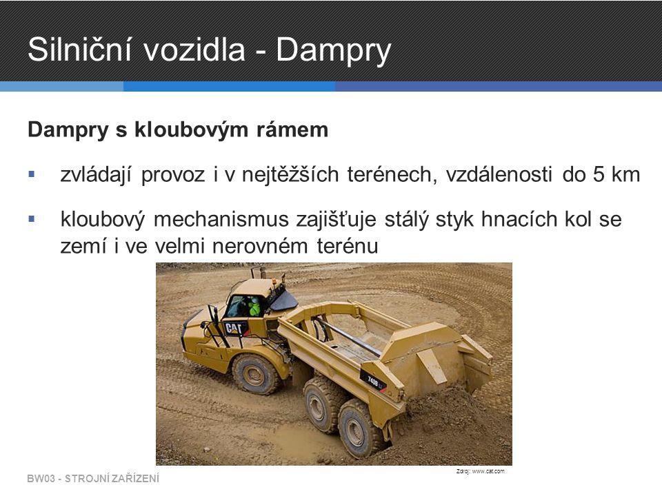 Silniční vozidla - Dampry Dampry s kloubovým rámem  zvládají provoz i v nejtěžších terénech, vzdálenosti do 5 km  kloubový mechanismus zajišťuje stálý styk hnacích kol se zemí i ve velmi nerovném terénu BW03 - STROJNÍ ZAŘÍZENÍ Zdroj: www.cat.com