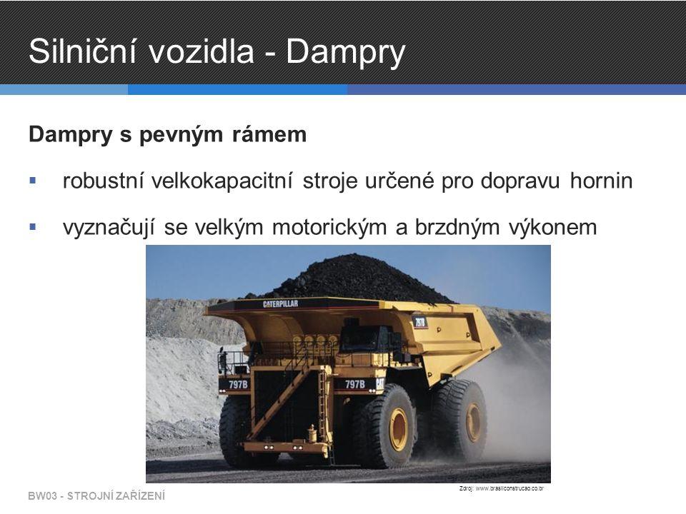 Silniční vozidla - Dampry Dampry s pevným rámem  robustní velkokapacitní stroje určené pro dopravu hornin  vyznačují se velkým motorickým a brzdným výkonem BW03 - STROJNÍ ZAŘÍZENÍ Zdroj: www.brasilconstrucao.co.br