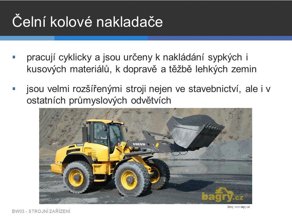Čelní kolové nakladače  pracují cyklicky a jsou určeny k nakládání sypkých i kusových materiálů, k dopravě a těžbě lehkých zemin  jsou velmi rozšířenými stroji nejen ve stavebnictví, ale i v ostatních průmyslových odvětvích BW03 - STROJNÍ ZAŘÍZENÍ Zdroj: www.bagry.cz