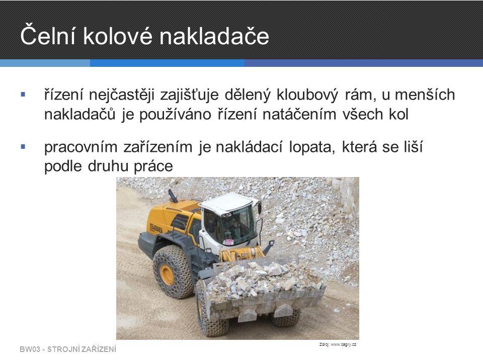 Čelní kolové nakladače  řízení nejčastěji zajišťuje dělený kloubový rám, u menších nakladačů je používáno řízení natáčením všech kol  pracovním zařízením je nakládací lopata, která se liší podle druhu práce BW03 - STROJNÍ ZAŘÍZENÍ Zdroj: www.bagry.cz