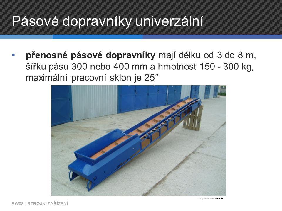 Pásové dopravníky univerzální  přenosné pásové dopravníky mají délku od 3 do 8 m, šířku pásu 300 nebo 400 mm a hmotnost 150 - 300 kg, maximální pracovní sklon je 25° BW03 - STROJNÍ ZAŘÍZENÍ Zdroj: www.unitradeba.sk