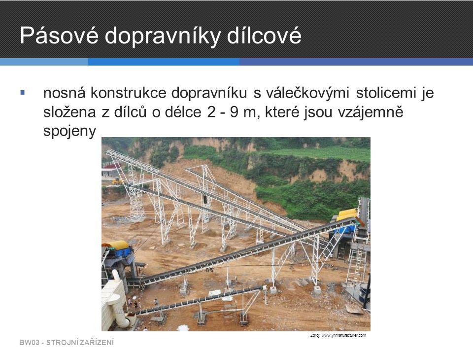 Pásové dopravníky dílcové  nosná konstrukce dopravníku s válečkovými stolicemi je složena z dílců o délce 2 - 9 m, které jsou vzájemně spojeny BW03 - STROJNÍ ZAŘÍZENÍ Zdroj: www.yhmanufacturer.com