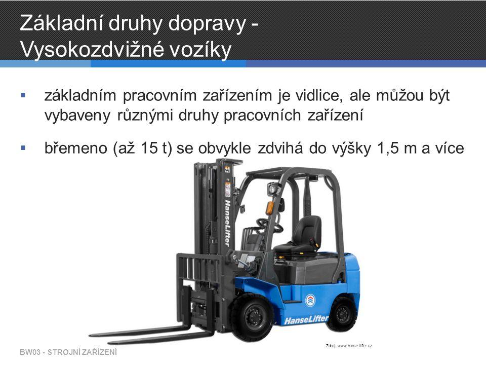 Základní druhy dopravy - Vysokozdvižné vozíky  základním pracovním zařízením je vidlice, ale můžou být vybaveny různými druhy pracovních zařízení  břemeno (až 15 t) se obvykle zdvihá do výšky 1,5 m a více BW03 - STROJNÍ ZAŘÍZENÍ Zdroj: www.hanse-lifter.cz