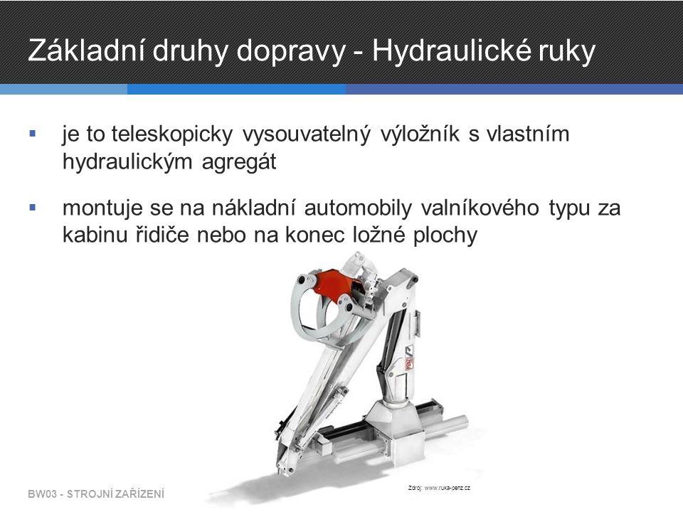 Základní druhy dopravy - Hydraulické ruky  je to teleskopicky vysouvatelný výložník s vlastním hydraulickým agregát  montuje se na nákladní automobily valníkového typu za kabinu řidiče nebo na konec ložné plochy BW03 - STROJNÍ ZAŘÍZENÍ Zdroj: www.ruka-penz.cz