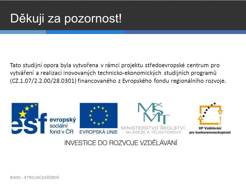 Tato studijní opora byla vytvořena v rámci projektu středoevropské centrum pro vytváření a realizaci inovovaných technicko-ekonomických studijních programů (CZ.1.07/2.2.00/28.0301) financovaného z Evropského fondu regionálního rozvoje.